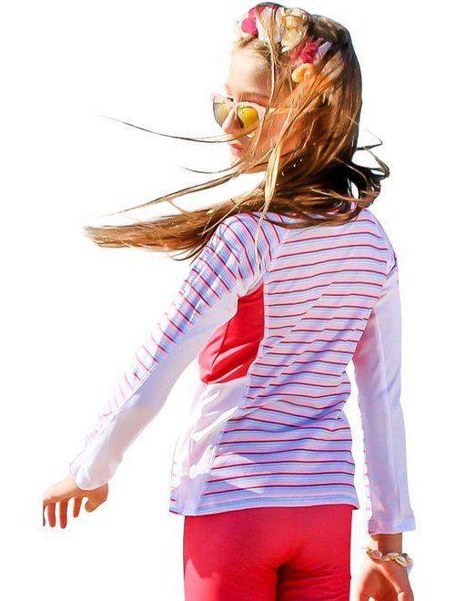 Sun Emporium Girls Coral Red Long Sleeve Rash Guard