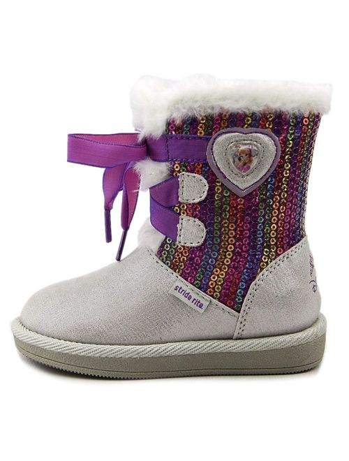 Stride Rite Baby Girl's Disney Frozen Cozy Boot (Toddler) Silver Boot 5 Toddler M