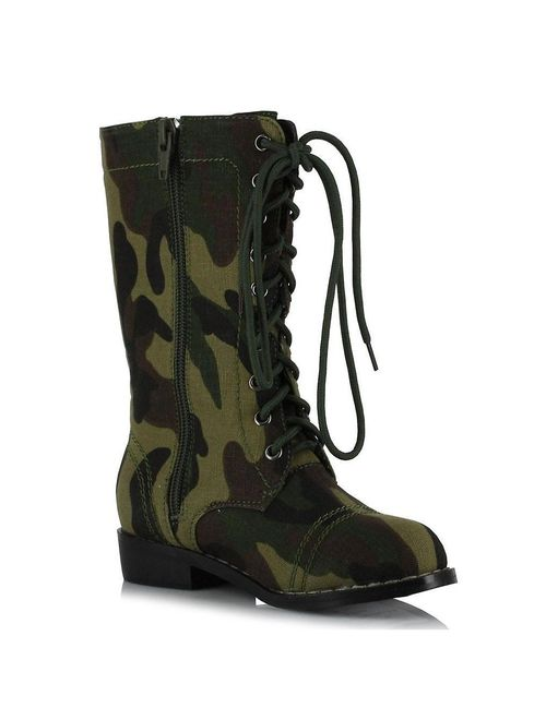 Ellie Shoes E-101-Bootcamp 1 Heel Camo Ankle Boot Children S / Camel w/ Black