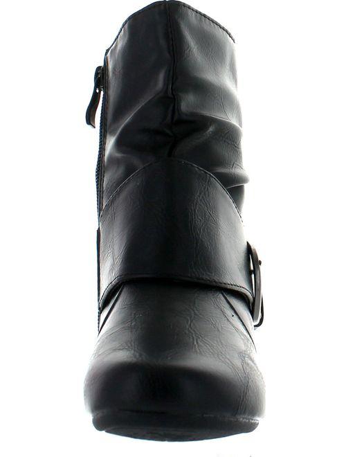 LINK SELENA-63K Children Girl's Comfort Buckle Deco Flat High Top Ankle Booties
