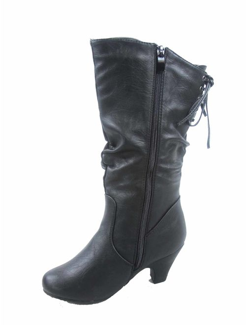 Win-40K Girl's Kid's Fashion Zipper Lace Low Heel Round Toe Dress Boot Shoes