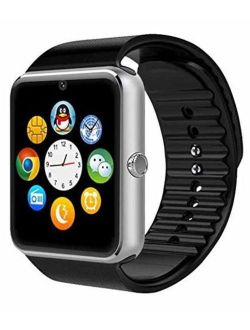 Silver Bluetooth Smart Wrist Watch Phone Mate For Android Samsung Htc Lg Touch Screen With Camera