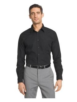 Men's Black Fitted Poplin Solid Long Sleeve Dress Shirt