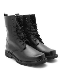 Men's Safety Steel Toe Black Military Boots Lace Up Tactical Boots Leather High Top Steel Head Work Shoes for Outdoor Training Climbing Hiking