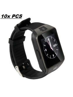10 Pack DZ-09 Black Smart Watch Wholesale Lot Touch Screen Bluetooth Smart Wrist Watch - Supports SIM + Memory Card