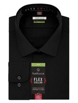 Men's Big Fit Flex Collar Solid Long Sleeve Dress Shirts (big And Tall)
