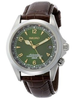Men's Stainless Steel Japanese-automatic Watch With Leather Calfskin Strap, Brown, 20 (model: Sarb017)