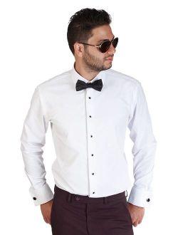 Cardi Mens Poly//Cotton Laydown Collar Tuxedo Shirt 1//4 Inch Pleat White