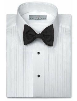 Elaine Karen Premium Men/'s Tuxedo Long Sleeve Shirt Wing-Tip Collar with Bonus Black Bow Tie