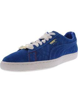 Men's Suede Classic Paris Electric Blue Lemonade Ankle-high Leather Fashion Sneaker - 9m
