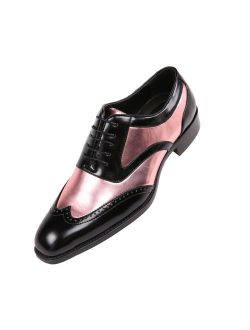 Bolano Mens Two-Tone Metallic Black Smooth Lace up Oxford Dress Shoe, Wingtip Spectator, Style Lawson
