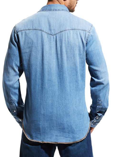 Wrangler Men's Long Sleeve Western Denim Shirt