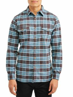 Men's Long Sleeve Plaid Poplin Woven, Available Up To Size 2xl