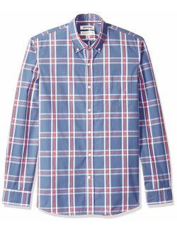 D - Goodthreads Men's Standard-fit Long-sleeve Plaid Poplin Shirt With Button-down Collar