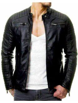 Men's Quilted Black Genuine Leather Jacket For Biker Racer Bomber Vintage Top