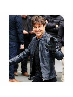Tom Cruise Leather Jacket Causal Biker Vintage Genuine Leather Jacket for Men