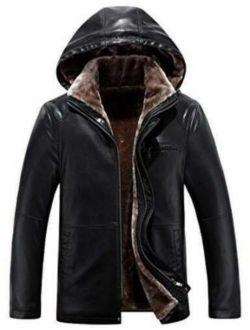 Hooded Men's Black Regular Fit Jacket Genuine Leather Retro Biker Racer
