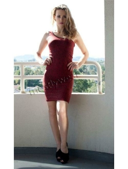 SHOSHO Sleeveless One Shoulder Red Leopard Mini Dress