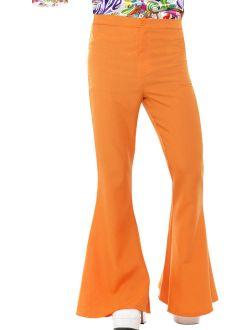 Mens 70s Groovy Disco Fever Flared Orange Pants Costume