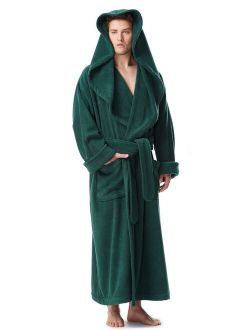 Men's Luxury Medieval Monk Robe Style Full Length Hooded Turkish Terry Cloth Bathrobe