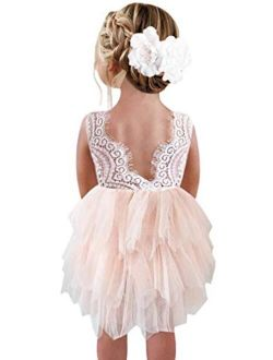 2Bunnies Girl Beaded Peony Lace Back A-Line Tiered Tutu Tulle Flower Girl Dress