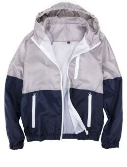 Mens Zipper Jacket Casual Hip Hop Windbreaker Sporting Hooded Comfortable Coat Grey/blue Color