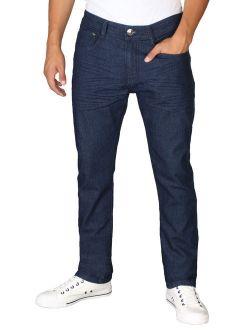 RD Men's Light Distressed Slim Fit Denim Jeans-38 X 32 (36W x 32L, Dk Blue Stone)