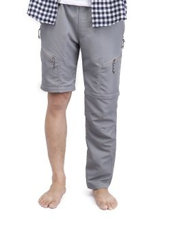 Men's Outdoor Anytime Quick Dry Convertible Pants Lightweight Work Pant Zip Off Cargo Short Trousers With Drawstring Grey Black