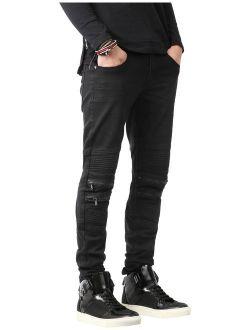 Mens Biker Jeans Distressed Ripped Zipper Straight Slim Fit Stretch Denim Pants