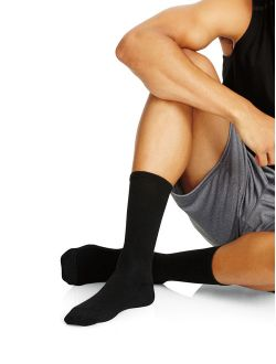 Men's Fresh Iq Crew Cushion Socks, 6-12, Black