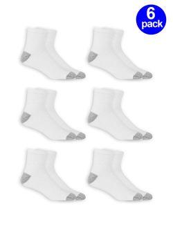 Men's Odor Resistant Cushion Ankle Quarter Socks 6 Pack