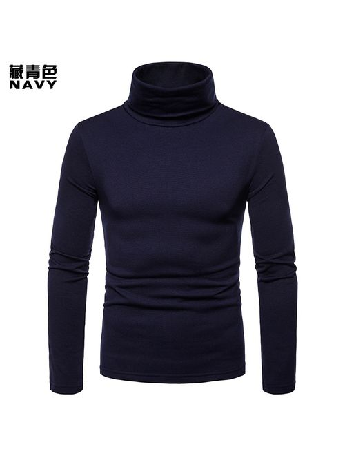 Fashion Men Basic Long Sleeve Solid Color Turtleneck Slim Pullover Sweater Tops Shirts