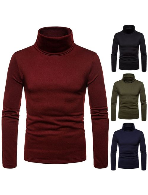 2019 Fashion Men Basic Long Sleeve Solid Color Turtleneck Slim Pullover Sweater Tops Shirts