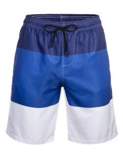 Mens Swim Trunks Quick-dry Swimsuit Colorblock Swim Trunks Beachwear Swimwear With Elastic Waist Drawstring