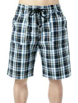 New Summer Mens Swimming Trunks Swim Shorts Board Shorts With Pockets, Blue Plaid Shorts Swimwear Beachwear Underwear Swimsuit Beach Pants, Casual Quick Dry Bathi