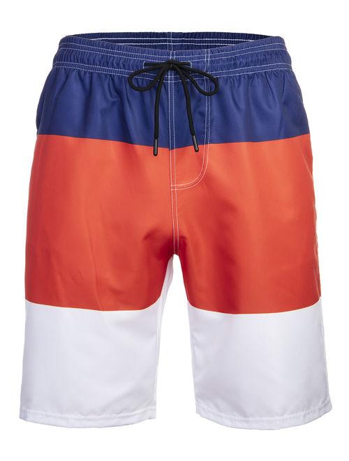 LELINTA Shorts Polyester Swim Trunks for Men, Quick-Dry Colorblock Swim Pants