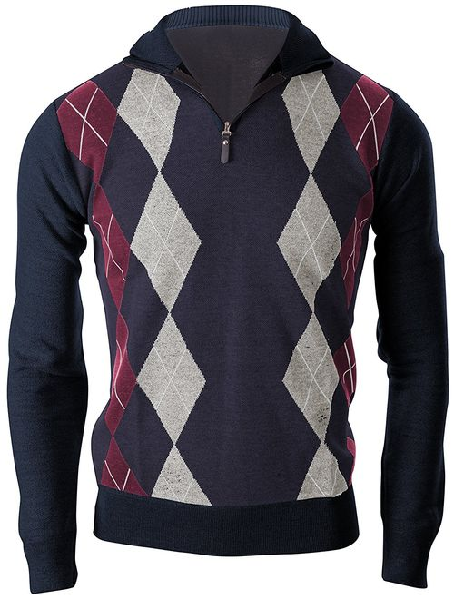 Enimay Mens Argyle Zip Up Golf Long Sleeve Zipper Sweater Vintage Navy Size S