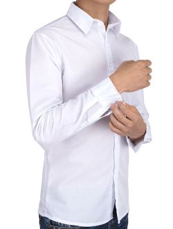 Men's Solid White Dress Shirt And Mens Dress Shirts Long Sleeve Wrinkle Free, Black/ Blue Color, Up To Size 5xl