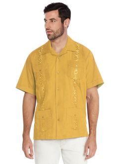 vkwear Men's Guayabera Cuban Beach Wedding Casual Short Sleeve Dress Shirt (Yellow, 4XL)