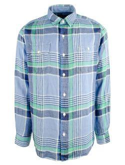 Men's 2-pockets Plaid Linen Long Sleeve Shirt-b-xl