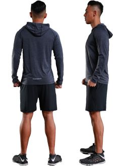 Mens Long Sleeve Lightweight Hoodie Tee Shirt Gym Workout Training Quickly Dry Hoodie Sweatshirt Reflect Light Red Green Grey