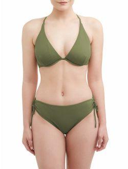 Women's Solid Rib Bikini Swimsuit Top