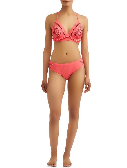 Time and Tru Women's Flamengo Dancer Molded Bikini Swimsuit Top