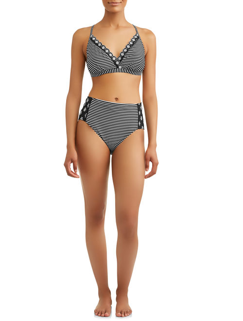 Time and Tru Women's Shadow Striped Swimsuit Top