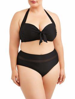 Women's Plus Size Solid Tie Front Bandeau Swimsuit Top