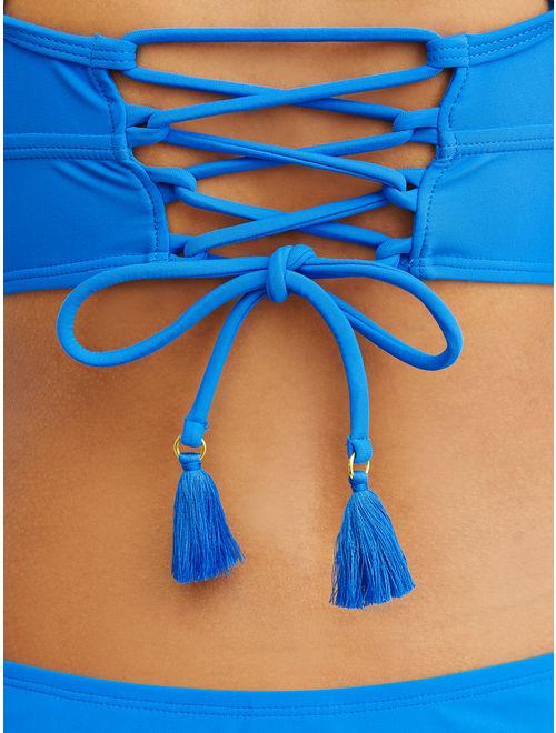 Time and Tru Women's Solid Bikini Swimsuit Top