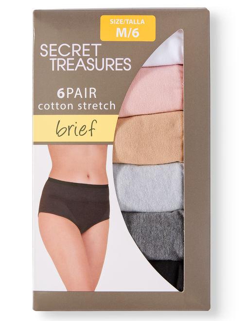 Secret Treasures Ladies Cotton Stretch Brief Panties - 6 pack