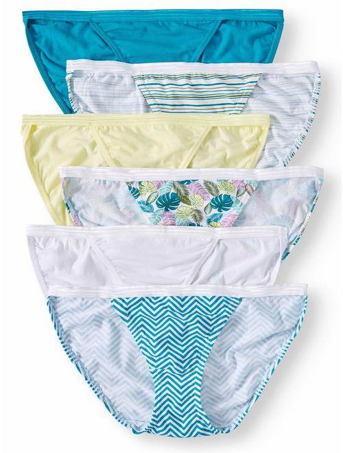 Secret Treasures Ladies' Cotton Stretch String Bikini Panties, 6-Pack