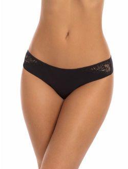 Women's Microfiber Lace Thong Panties - 3 Pack