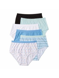 Ladies 100% Cotton Brief Panty, 6 pack